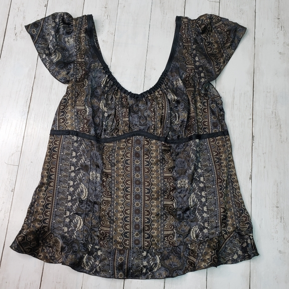 The Limited Tops - New! The Limited 100% Silk Print Cap Sleeve Top